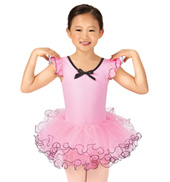 Child Curly Hem Flutter Sleeve Tutu Costume Dress