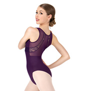 Womens Mesh Back Lace Tank Leotard