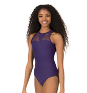 Womens High Neck Mesh Insert Tank Leotard