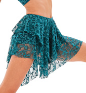 Womens/Girls Blank Page 2-Tier Asymmetrical Lace Skirt