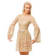 Womens/Girls Goodbye Lace Long Sleeve Dress Costume