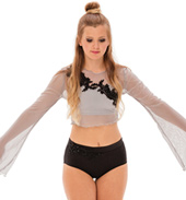 Womens/Girls Taking Chances Long Bell Sleeve Crop Top