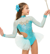 Womens/Girls Snapshot Long Sleeve Bustled Sequin Leotard without Rhinestones