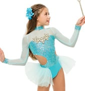 Womens/Girls Snapshot Long Sleeve Bustled Sequin Leotard with Rhinestones