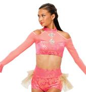 Womens/Girls Jealous Cold Shoulder Long Sleeve Filigree Crop Top