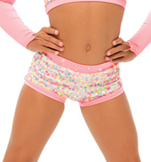 Womens/Girls Lollipop Sequined Boy Shorts with Rhinestones