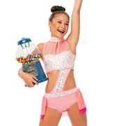 Womens/Girls I Want Candy Bustled Sequin Halter Leotard without Rhinestones