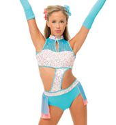 Womens/Girls I Want Candy Bustled Sequin Halter Leotard with Rhinestones