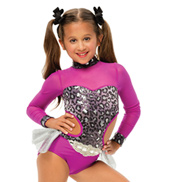 Womens/Girls Stray Cat Strut Leopard Sequin Long Sleeve Bustled Leotard without Rhinestones