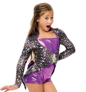 Womens/Girls Welcome To The Show Leopard Sequin Jacket Set