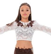 Womens/Girls Cheap Thrills Lace Long Bell Sleeve Crop Top