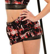 Womens/Girls Not Today Pleather Trimmed Metallic Bubble Shorts
