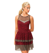 Womens/Girls Fade Away Paisley Lace Tank Dress with Rhinestones