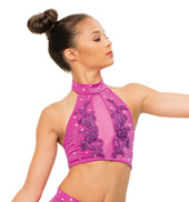 Womens/Girls Where We Land Strappy Back Halter Bra Top with Rhinestones