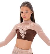 Womens/Girls English Rose Mesh Long Sleeve Crop Top without Rhinestones