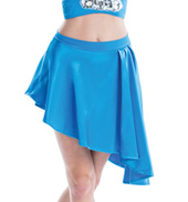 Womens/Girls City Asymmetrical Hem Satin Skirt without Rhinestones