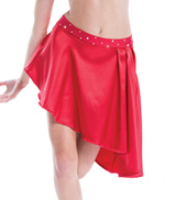 Womens/Girls City Asymmetrical Hem Satin Skirt with Rhinestones