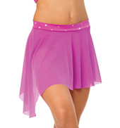 Womens/Girls All We Are Asymmetrical Short Mesh Skirt with Rhinestones