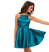 Womens/Girls Fade To Grey Satin Camisole Dress with Rhinestones