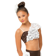 Womens/Girls She Used to Be Mine Asymmetrical Floral Crop Top with Rhinestones