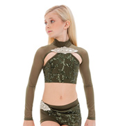 Womens/Girls Treat You Better Mesh Long Sleeve Sequined Crop Top without Rhinestones