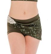 Womens/Girls Fresh Eyes Sequined Mesh Wrapped Shorts without Rhinestones