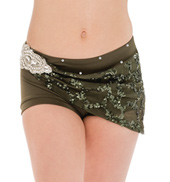 Womens/Girls Fresh Eyes Sequined Mesh Wrapped Shorts with Rhinestones