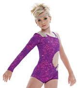 Adult/Girls Body Language Asymmetrical Unitard with Rhinestones