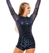 Womens/Girls Something Big Long Sleeve Sequined Mesh Shorty Unitard with Rhinestones