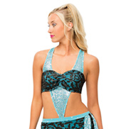 Womens/Girls Be Alright  Filigree Sequin Tank Bra Top with Rhinestones