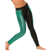 Womens/Girls Dont Mind Sequin Paneled Pleather Leggings