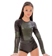 Womens/Girls Bed Of Roses Long Sleeve Perforated Pleather Shorty Unitard