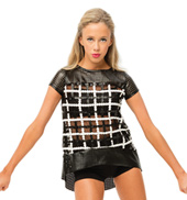 Womens/Girls What Do You Mean Mod Perforated Pleather Short Sleeve Top Set