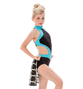 Womens/Girls Rise Two-Tone Mod Bustled Halter Leotard with Rhinestones