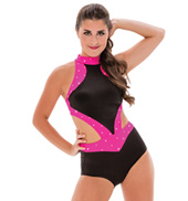Womens/Girls We Dont Talk Anymore Two-Tone Halter Leotard with Rhinestones