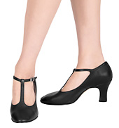 Womens Chord T-Strap Character Shoes with 3 heel