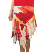 Womens Asymmetrical Ruffled Ballroom Skirt