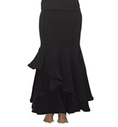 Womens Ruffled Trumpet Ballroom Skirt