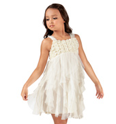 Girls Rosette Spiral Tulle Tank Dress