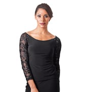 Adult Embroidered 3/4 Sleeve Ballroom Top