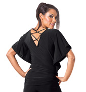 Adult Rouched Waist Short Sleeve Ballroom Top