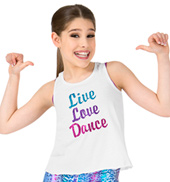 Girls Live Love Dance Floral Lace Dance Tank Top