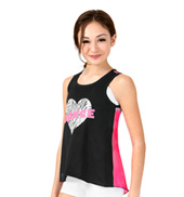 Girls Dance Zebra Print Heart Dance Tank Top