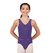 Girls Tactel Pinch Front Tank Leotard with Belt