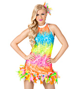 Neon Lights Adult Sequin & Feather Dress