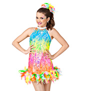 Neon Lights Girls Sequin & Feather Dress