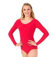 Womens Pinch Front Long Sleeve Leotard