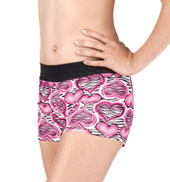 Girls Zebra Hearts Dance Shorts