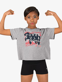 Girls Active Powerful & Strong Cotton Short Sleeve Top