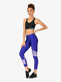 Womens Contrast Ankle-Length Fitness Leggings